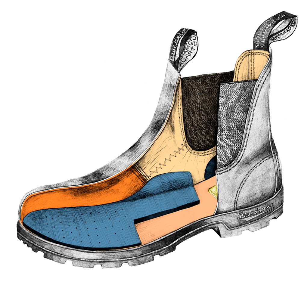 Drawing of a Blundstone Classics series boot