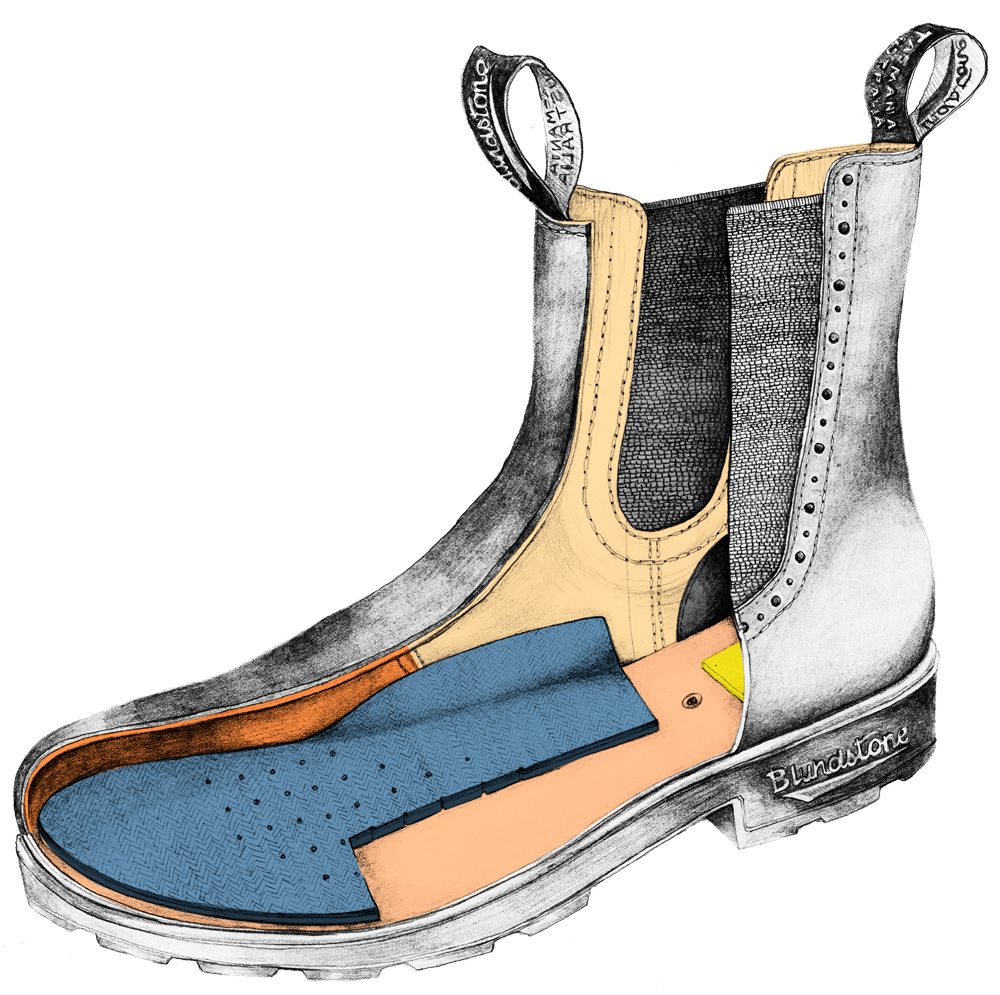 Drawing of a Blundstone Originals series high-top boot