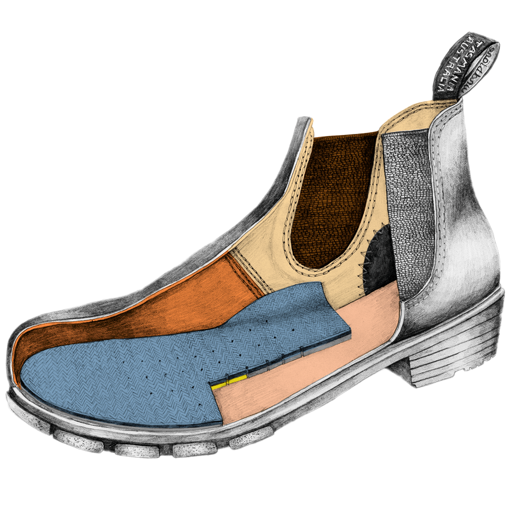 Drawing of a Blundstone Women's series ankle boot